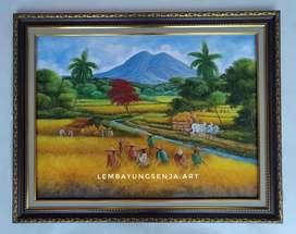 LUKISAN PANEN RAYA cat oil di atas kanvas