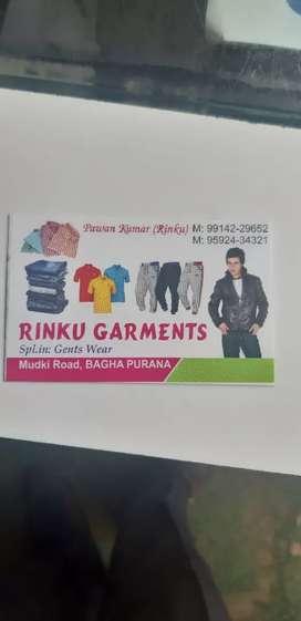 Readymade garments shop for salesman and salegirl