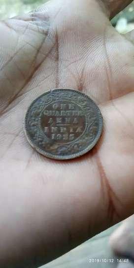 ONE QUARTER ANNA INDIA 1935