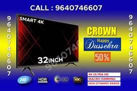 """Dasara 50% offer 32""""smart 4k ips Samsung panel 2YRS WARRANTY Crown"""