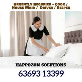 We are Hiring Front Office Executive Housemaid / Cook / Driver  & More
