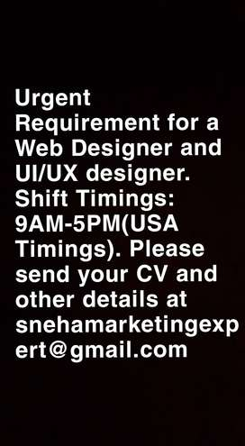 Full Time UI/UX Designer and Web Designer required