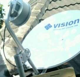 Pasang indovision Mnc Vision parabola cepat hemat tahan hujan
