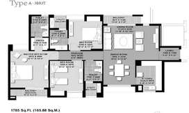 3 BHK Flat, with Closets, modular kitchen, curtains and fittings