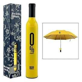 Folding Portable Wine Bottle Umbrella with Plastic Case