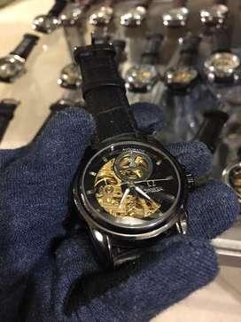 Omega black moon kinetic skeleton leather strap