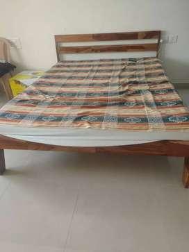 Sheesham wood double bed with memory foam mattress