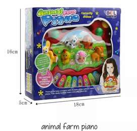 Mainan Anak musik animal piano farm lampu