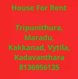 4 cent 1600 sqft 3bhk house for rent tripunithura. Semifurnished