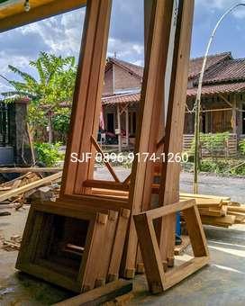 Mebel, kayu jati : pintu, jendela, kusen, loster, boven, dll