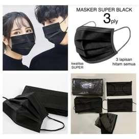 masker 3ply hitam black face protective mask earloop isi 50 pcs