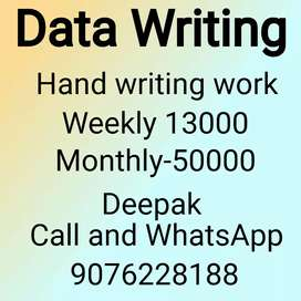 Home based job only hand Writing weekly 12,000
