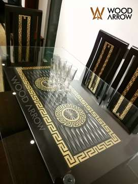 Versace Style Dining Table (6 chairs). Sofa, bed, center table, mirror