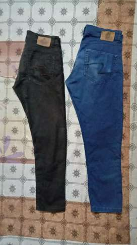 Two spykar trousers  blue and chocolate brown