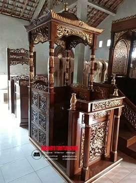 Mimbar masjid bahan kayu jati
