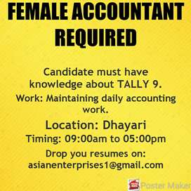 Female accountant required in Dhayari.