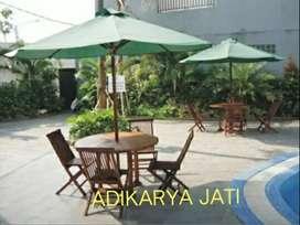 Kursi meja payung kayu jati  (buat taman  cafe)  .