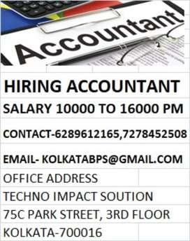 Accountant in Kolkata salary 10k to 16k