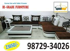 brand new l shape brown corner sofa with a table