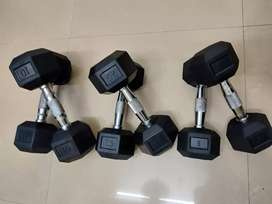 Hexagon,  Round and Vinyl Dumbbells Available