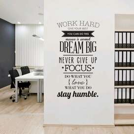 COCOPLAY Sticker Wallpaper Dinding Work Hard Living Room Decoration