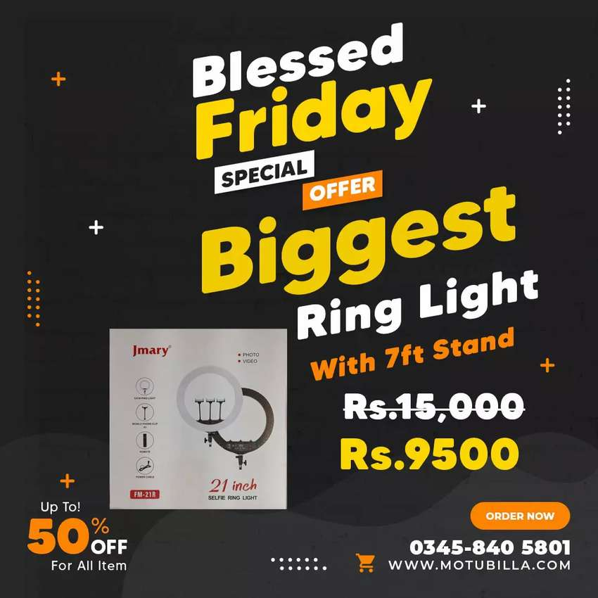 Biggest Beauty Parlour 54cm Ring Light With 7ft Stand Free Delivery 0
