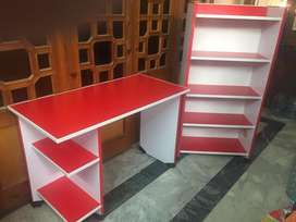 Study table and book shelf red and white contrast