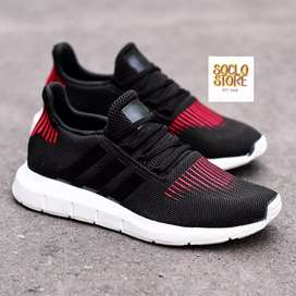 adidas swift run black black red original