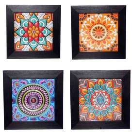 Set of 4 Wall Frames With Colorful Artwork (Free home delivery)