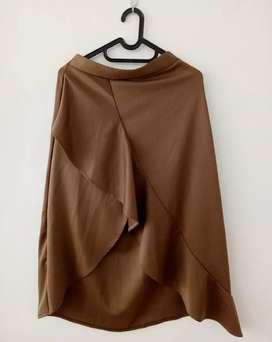 Rok Panjang Coklat Scuba Premium Fashion Second Bekas
