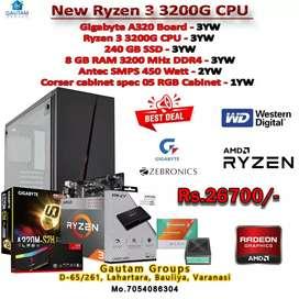 Ryzen3 3200g ready cpu 8gb 3200,Rgb ram 240hb SSD vp450smps rgb case