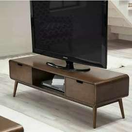 Meja TV minimalis, kayu jati finis natural, free ongkir