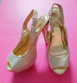 Glamour Gold Beaded Heels for wedding