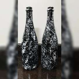 Marble effect  hand painted  bottle