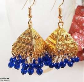 afghan triable golden  earrings with beads beautiful earring for girl