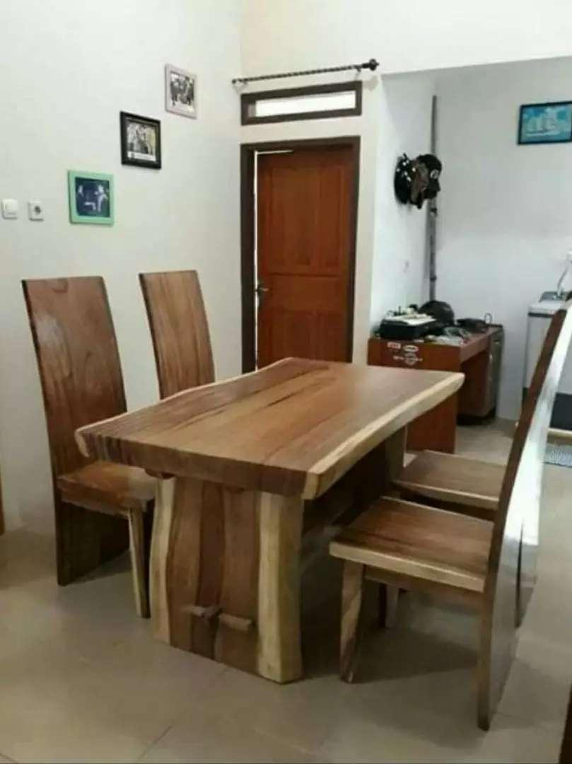 Meja makan kursi trembesi real pict 0