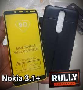 Case Hardcase Softcase + Tempered Glass 9D Nokia 3.1 plus