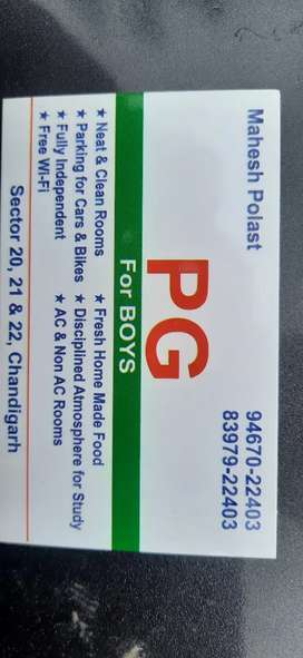 Pg for boys  with food with attach washrooms