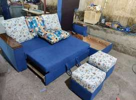 Brand new 5 seater sofa cum bed in blue color at factory price