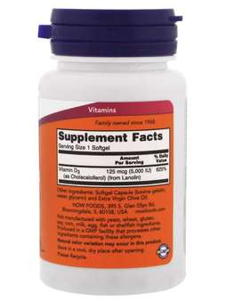 Now Foods, Vitamin D-3, High Potency, 5,000 IU, 120 Softgels