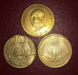 Brass set of 3 coins-20 paise Republic India