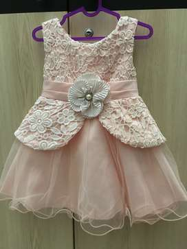 Dress Pesta Baby Flower Peach Size 1-2thn