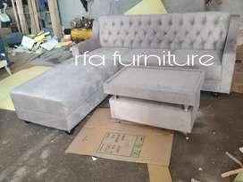 Sofa kancing abu plus puff