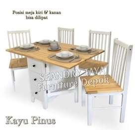 SEANDRY JAYA Furniture Depok/Meja makan minimalis kayu putih kekinian