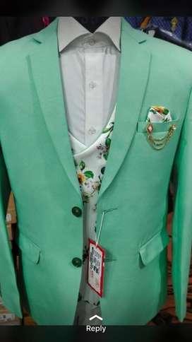 Coat pent 3 pc suit with florocent colours with reversible basket