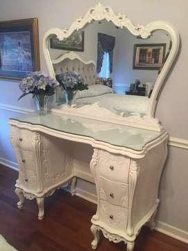 Meja cermin atau meja tolet atau meja hias, kayu jati, free ongkir