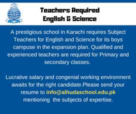 Male Teachers Required English & Science