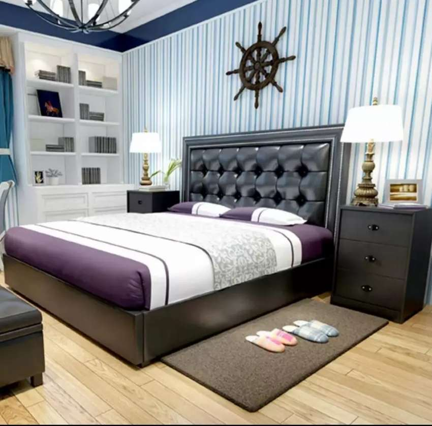 King size bed and side table 0