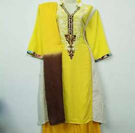 Winter Collection For Womens Three Piece Linen Dress For Casual Wear