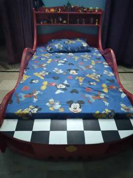 Car bed 6 month slightly use with matress and lights also